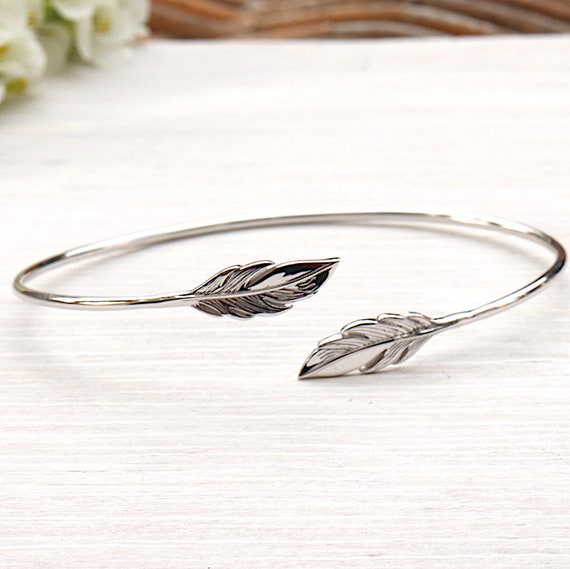 bracelet rush feathers in solid silver 925 for women