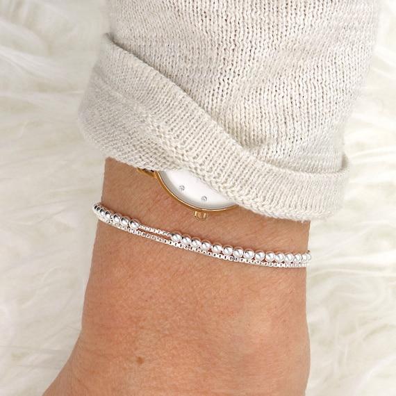 silver bracelet 925 beads double chain