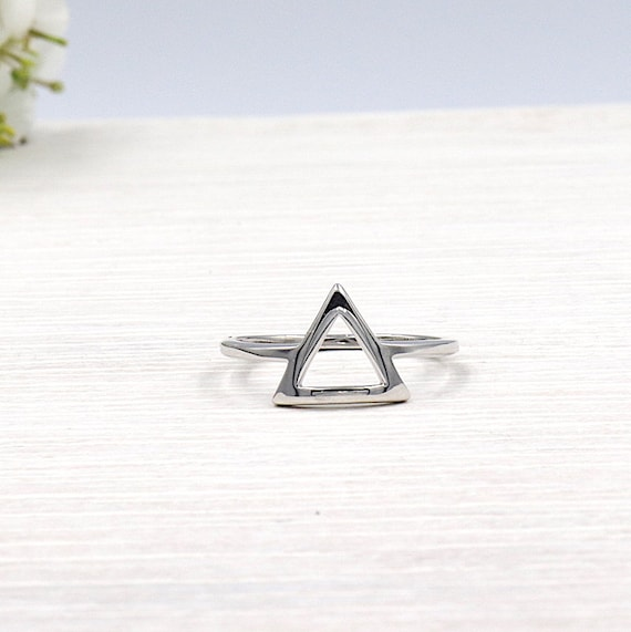 Silver triangle ring 925 for women