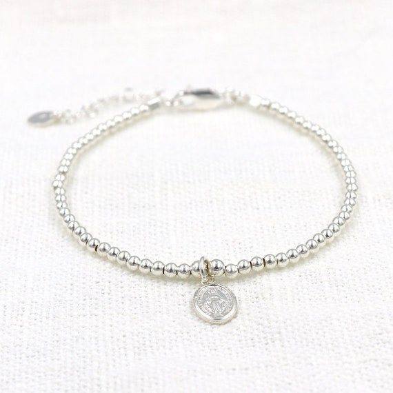 Women's pearl bracelet and 925 silver blank medal