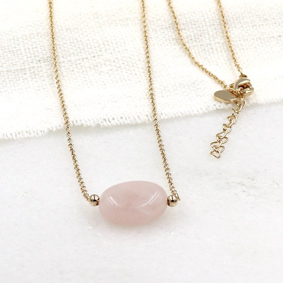 woman necklace stone stones quartz pink gold-plated chain