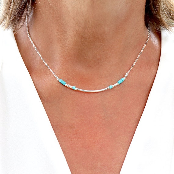 Necklace rush and turquoise howlite stones on silver chain, neckless woman solid silver