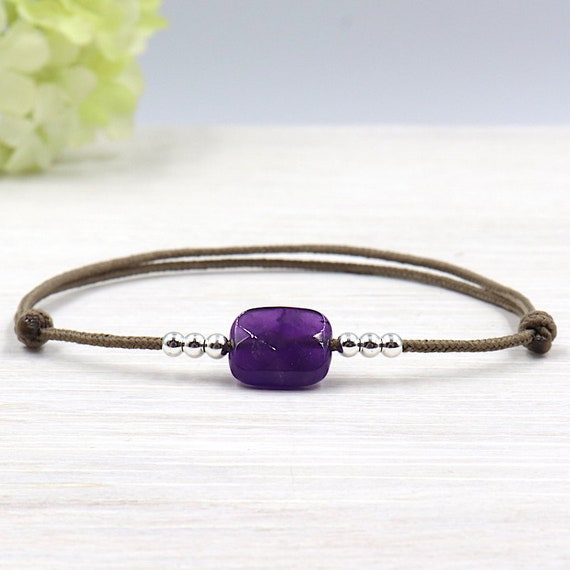 cord bracelet rectangle amethyst and 925 Silver beads