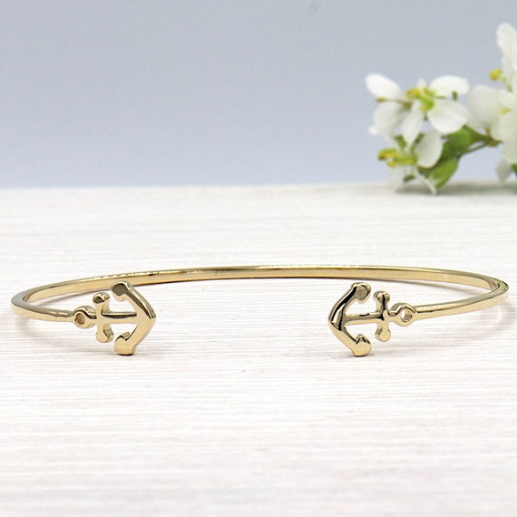 anchor Bangle Bracelet plated gold for women