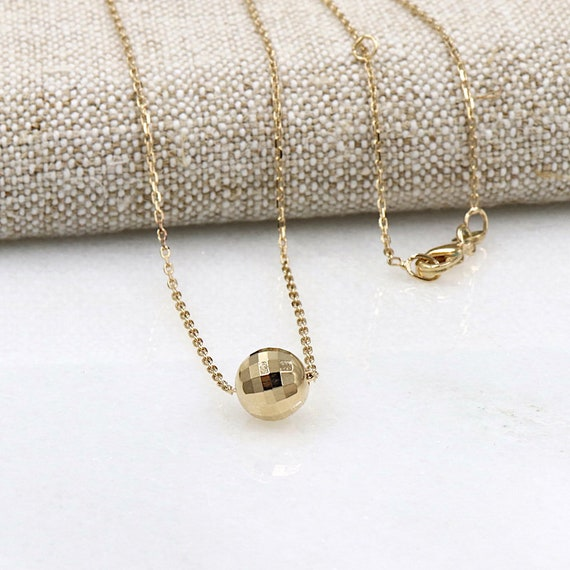 women necklace plated gold disco ball
