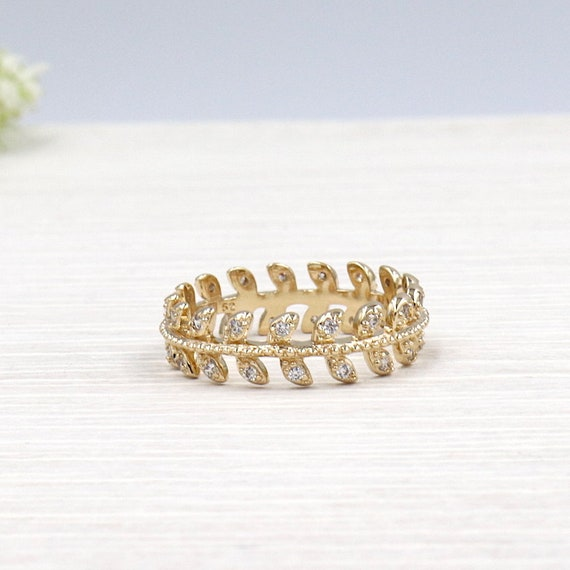 ring gold plated leaf and zircon stone set