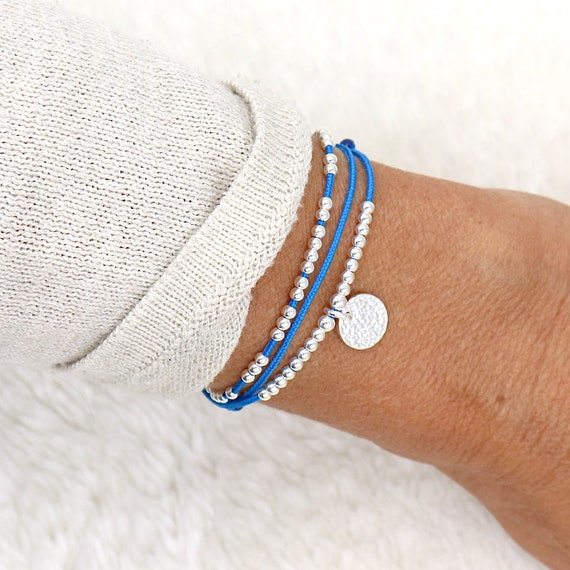 women's bracelet cord triple rounds beads and medal hammered silver