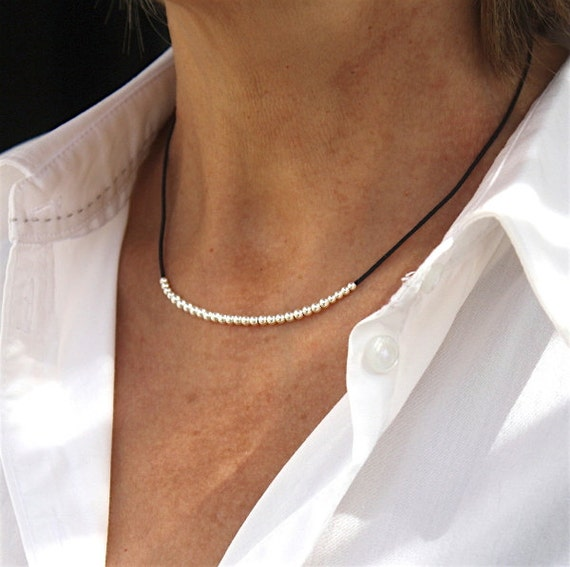Cord necklace of choice solid silver beads 925