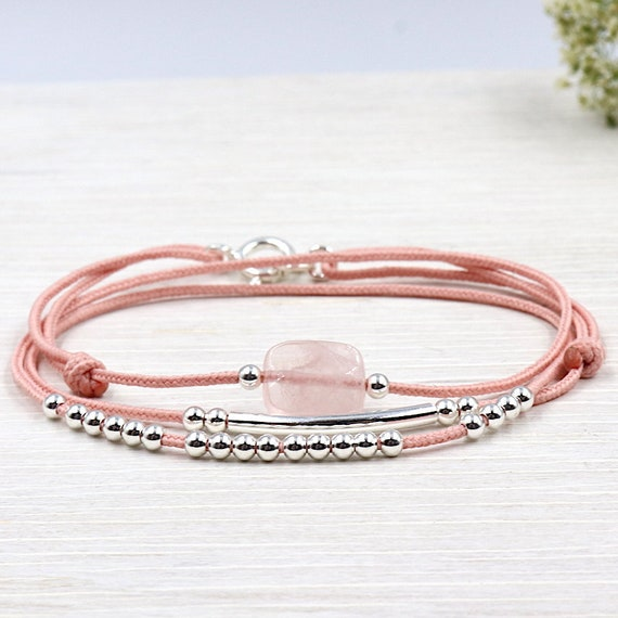 cord bracelet three rose quartz ring and 925 Silver beads