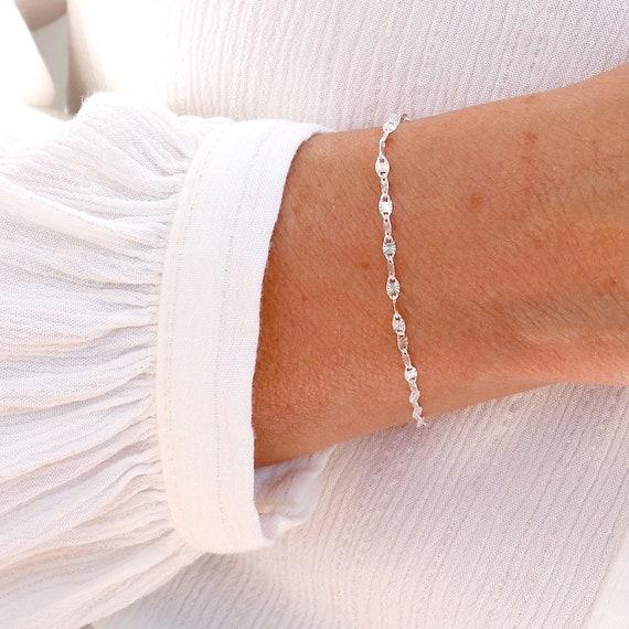 bracelet chain woman mesh sun in solid silver, women's gift bracelet