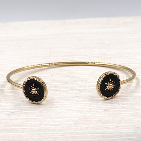 woman's bracelet rush sun plated gold enamelled black enamelled