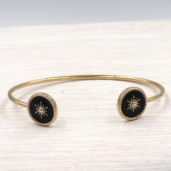 woman's bracelet rush sun plated gold enamelled black enamelled