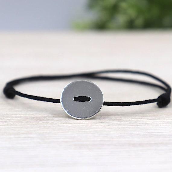 925 round button silver cord bracelet