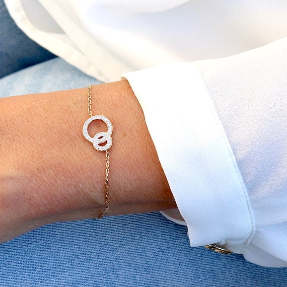 Bracelet circles intertwined you and me gold-plated covered with woman zircons