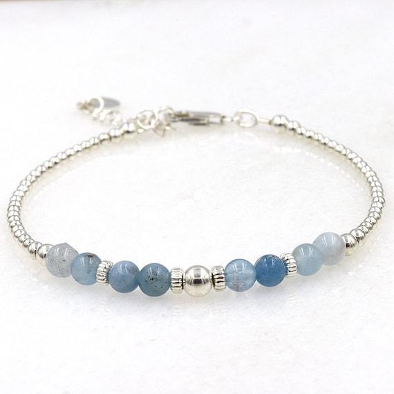 bracelet of sea sharp gemstones and silver beads 925 woman