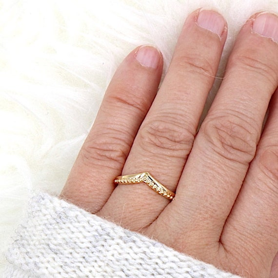 gold-plated v ring for women