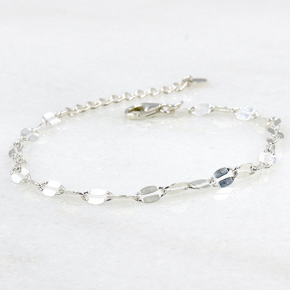 silver chain bracelet 925 flat links for women