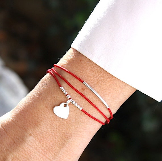 heart cord bracelet rush and silver beads 925