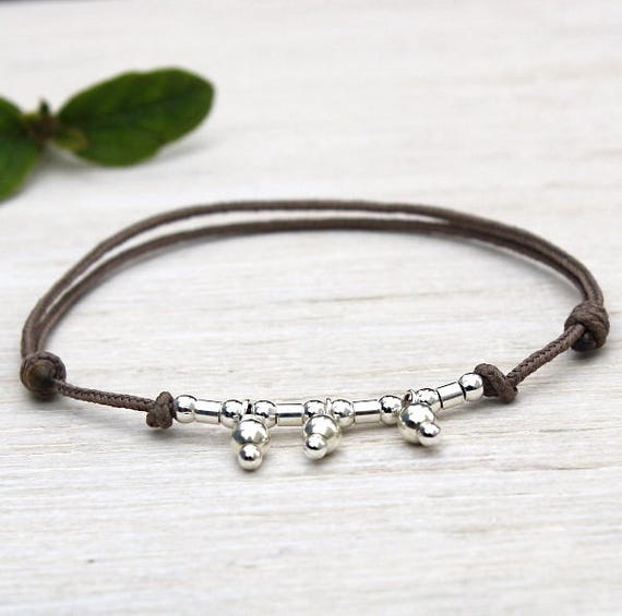 Bracelet cordon to choose charm and 925 sterling silver tube beads