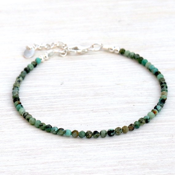 fine bracelet woman African turquoise gemstones faceted