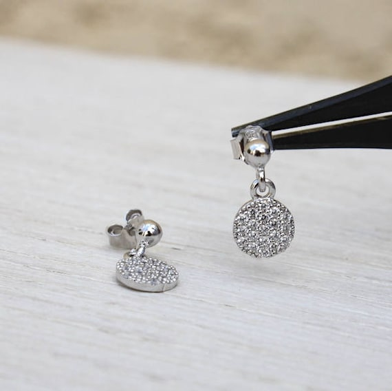 Earrings Silver 925 cubic zirconia coin
