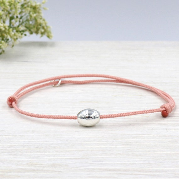 cord bracelet to choose silver oval bead 925