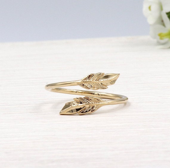 750/1000 3 microns gold-plated feather ring