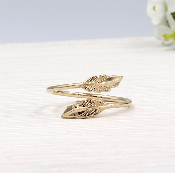 750/1000 gold-plated feather ring 3 microns