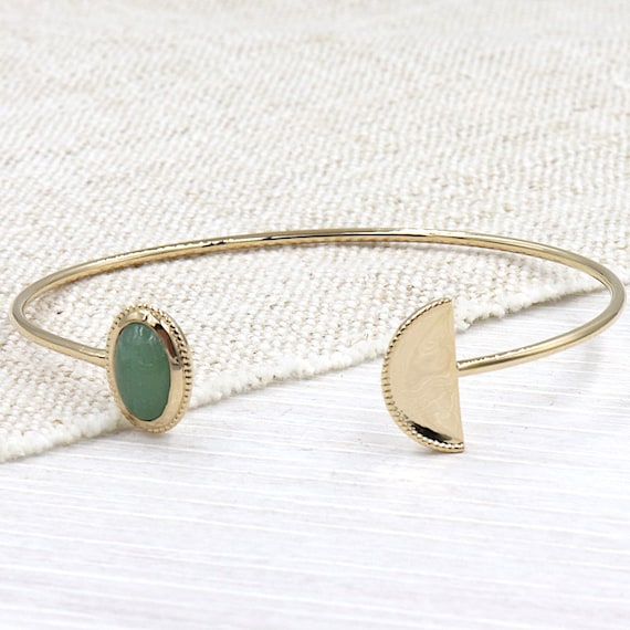 Bangle woman half moon gold plated aventurine