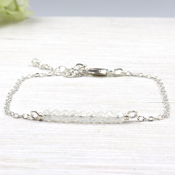 silver chain bracelet 925 Sterling and Moonstone gems