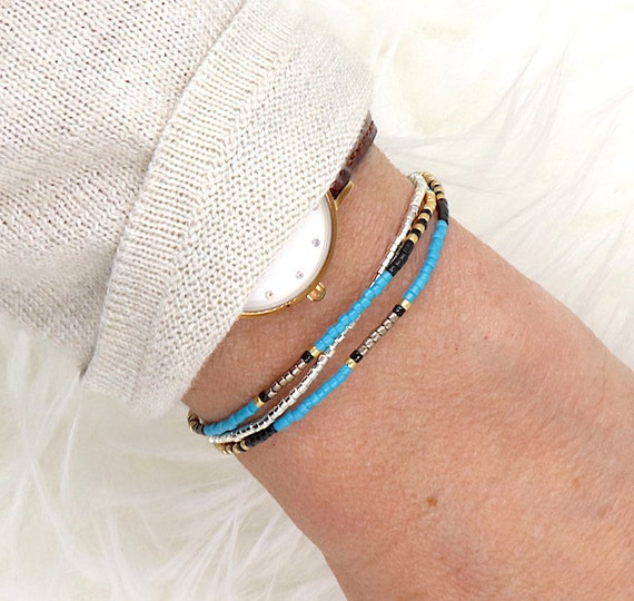 three-round turquoise blue miyuki beaded bracelet