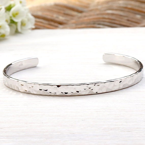925 sterling silver hammered Bangle Bracelet