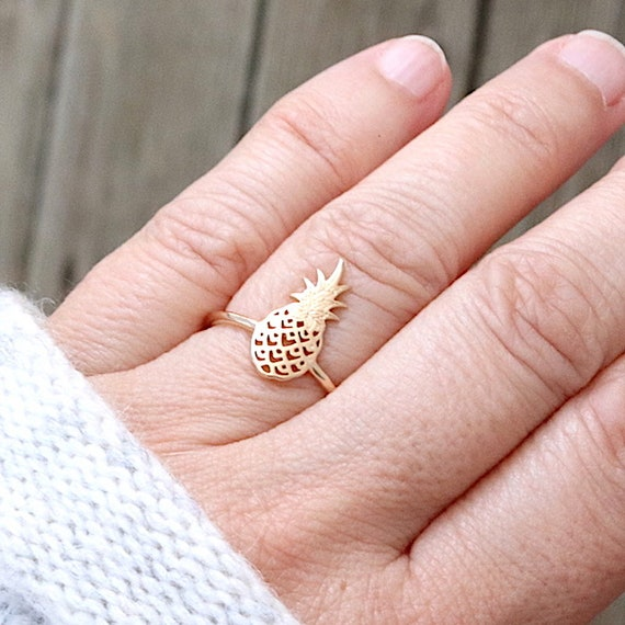 Pineapple women gold plated ring