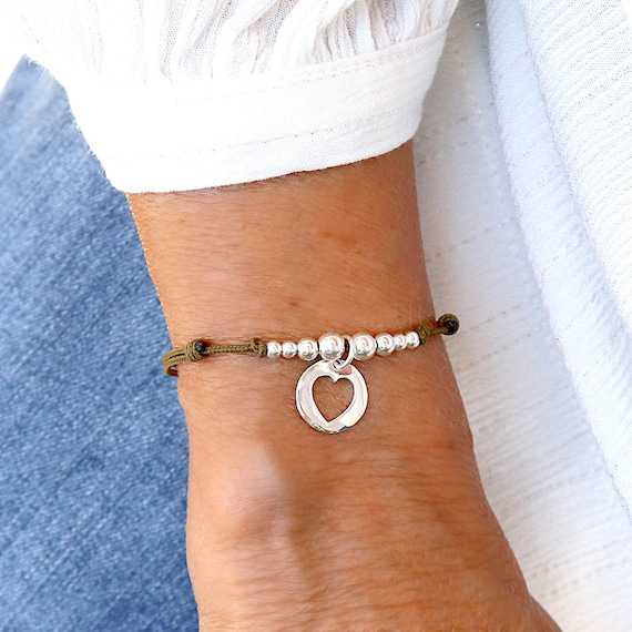 bracelet cord heart and pearls solid silver, bracelet cord woman, gift woman
