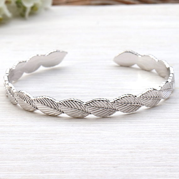 for women 925 sterling silver leaf Bangle Bracelet