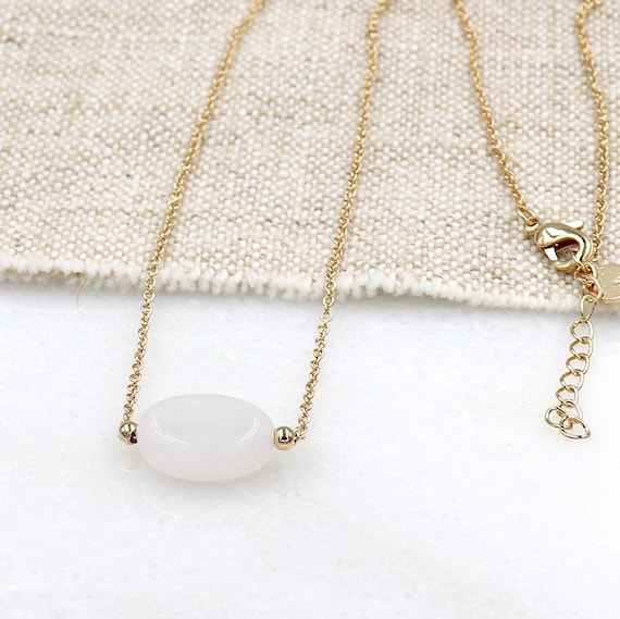 gold-plated chain necklace and moonstone for women