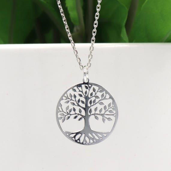 solid silver chain necklace and silver gm tree of life 925