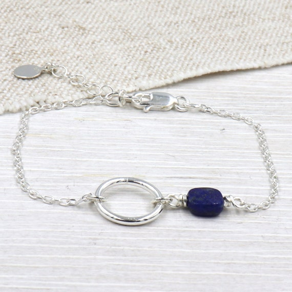gemstone ring and square bracelet to choose from on silver chain 925