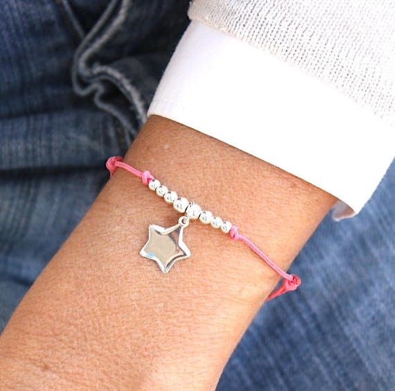 cord bracelet of your choice and a star and 925 silver beads