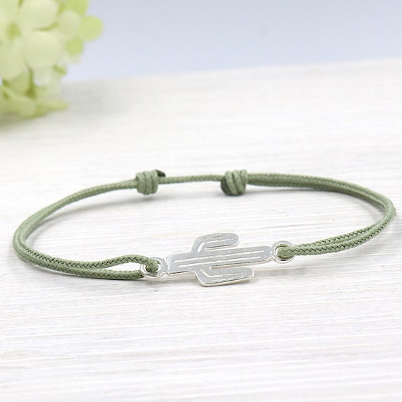 cord for women 925 sterling silver cactus bracelet