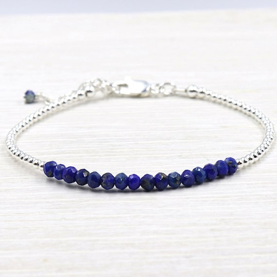gemstones lapis lazuli and 925 sterling silver beads bracelet