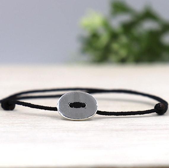 women 925 sterling silver oval button cord bracelet