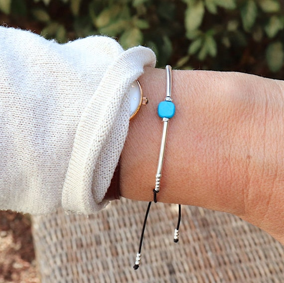 Bracelet turquoise thin cord and silver bangles for women 925
