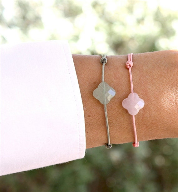 Bracelet cord clover gemstone gem to choose pink quartz or aventurine