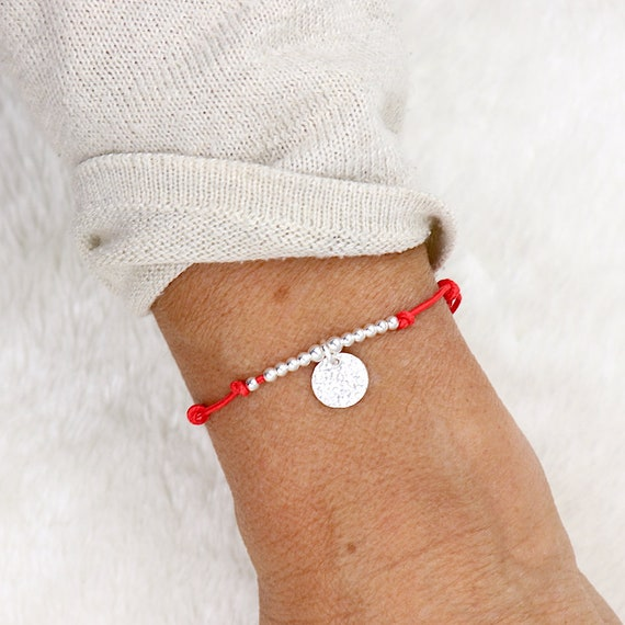 hammered medal cord bracelet and silver beads 925
