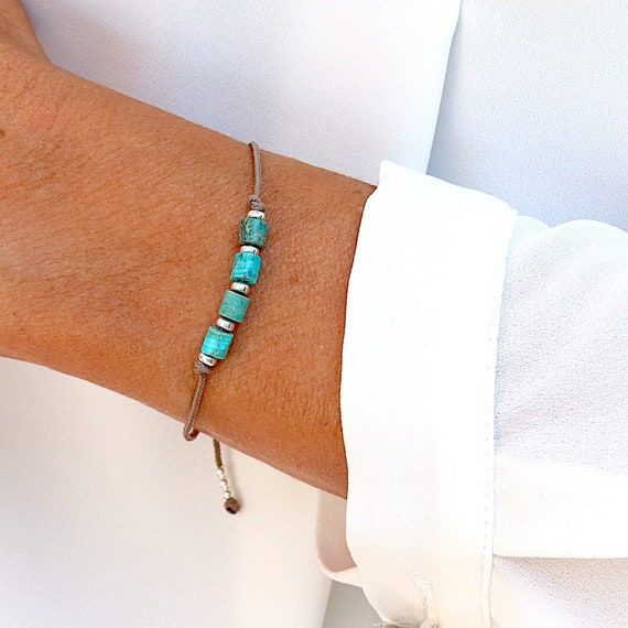 bracelet woman cord turquoise stones and silver beads, natural turquoise gemstones