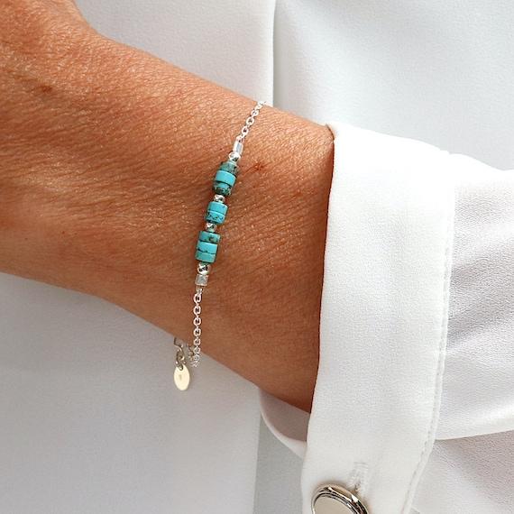 Bracelet natural turquoise stones on solid silver chain, women's bracelet
