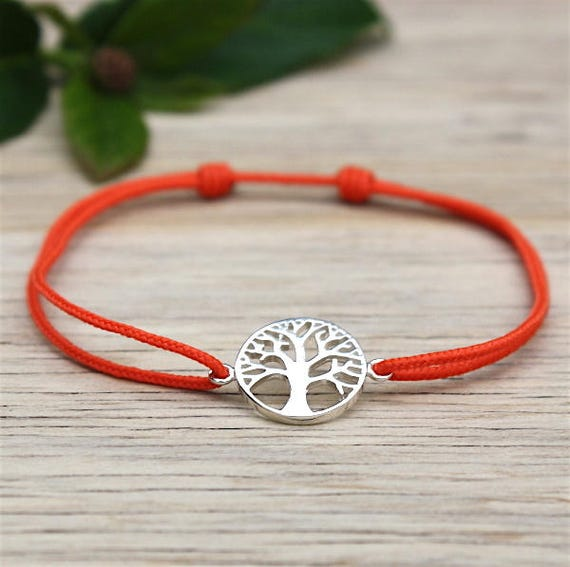 Silver tree of life cord bracelet 925 for women
