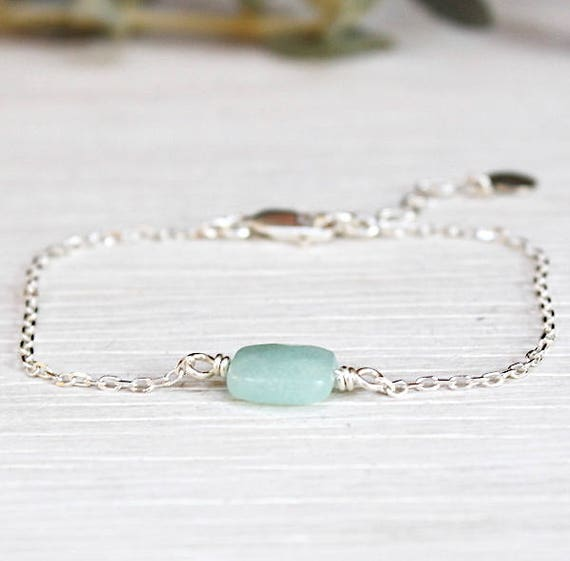 Bracelet gemstones amazonite on chain Silver 925