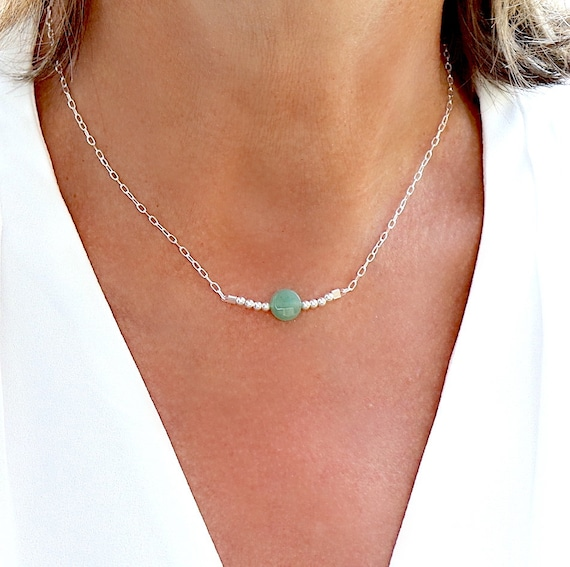 Aventurine stone necklace on silver chain 925, choker necklace, gift for women